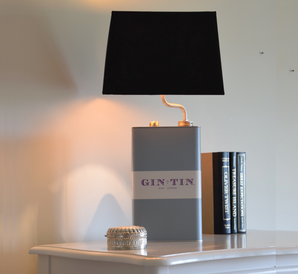 Gin In A Tin - Gloria The Gin Tin Lamp - No.15 Black Shade