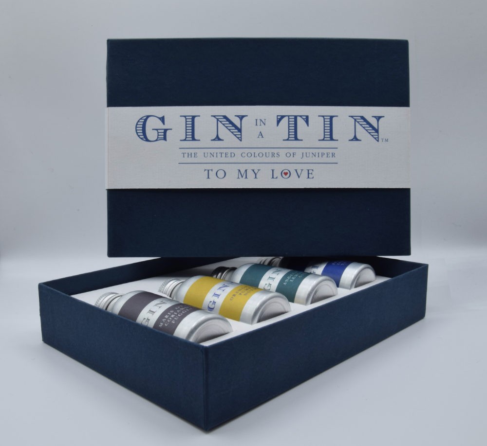 Gin In A Tin - Gift Set of Four Gins - Love Collection - Blue