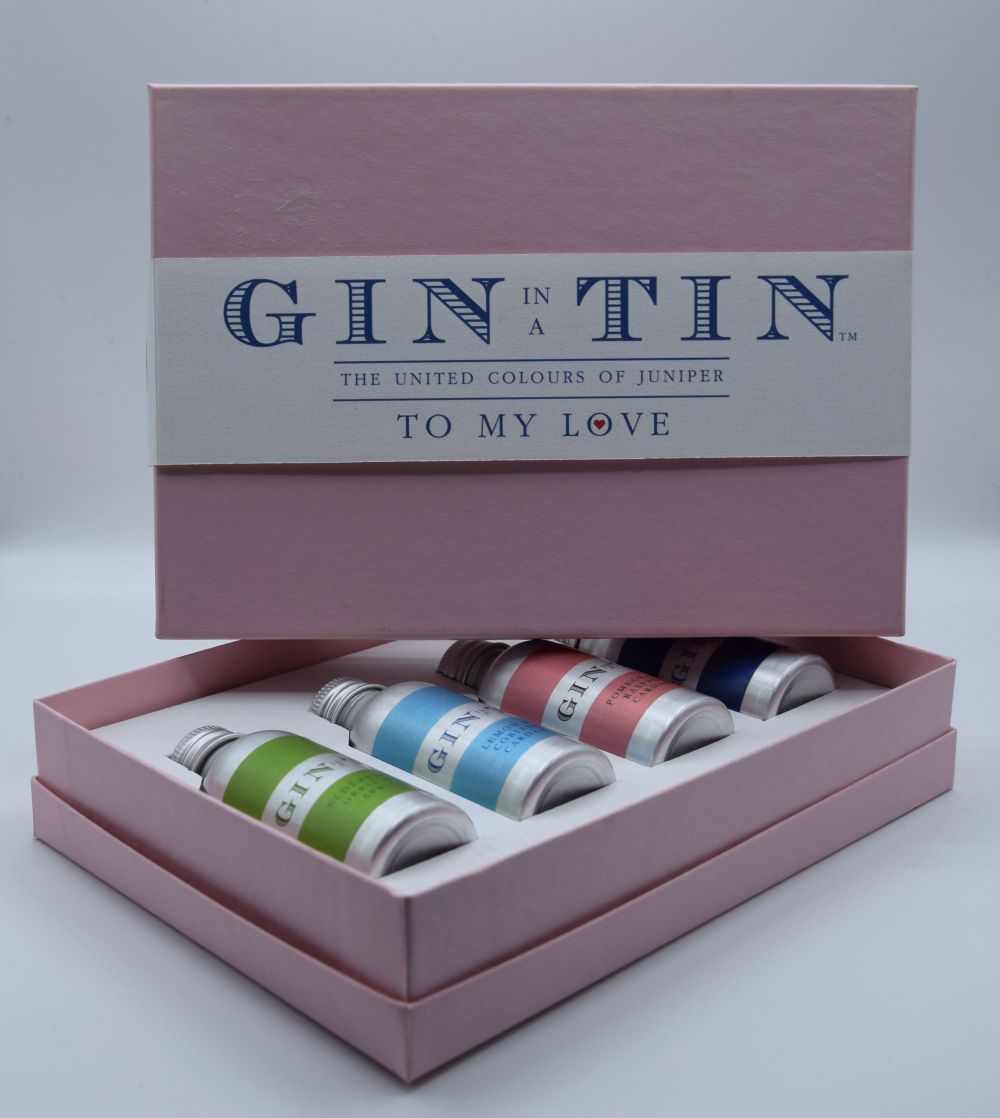 Gin In A Tin - Gift Set of Four Gins - Love Collection - Pink